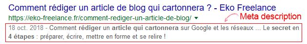 Balise meta description affichée dans Google