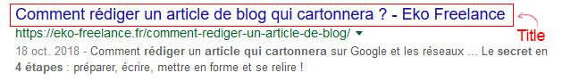Balise title affichée dans Google